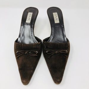 ISAAC MIZRAHI chocolate brown suede mules, Italy